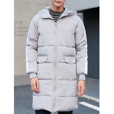 Contrast Paneled Rib Cuff Zip Up Hooded Padded Coat