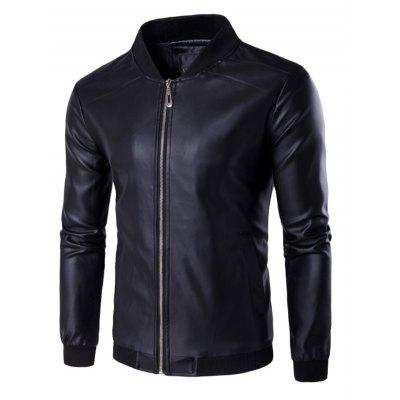 PU Leather Stand Collar Zip Up Jacket