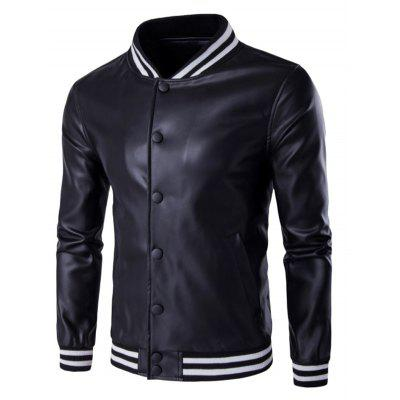 Stripe Rib Splicing PU Leather Stand Collar Jacket