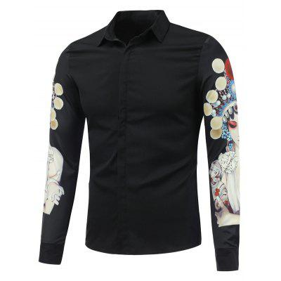 Chinese Opera 3D Printed Long Sleeve Shirt