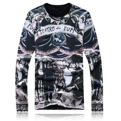 Long Sleeve Flocking Graphic T-Shirt