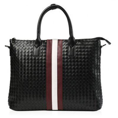 Weave Striped Pattern Briefcase