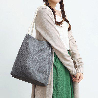 Hemp Rope Magnetic Closure Canvas Shoulder Bag