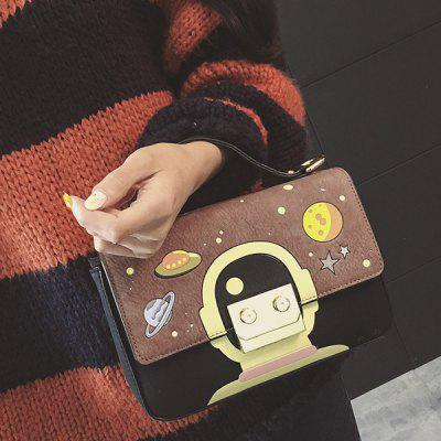 Metal Universe Pattern Colour Splicing Crossbody Bag
