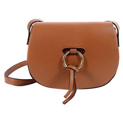 Metal Ring Faux Leather Saddle Bag
