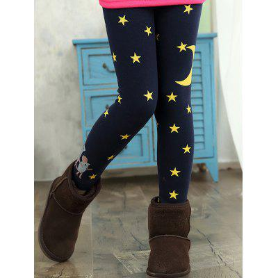 Kids Star Moon Print Thick Skinny Leggings