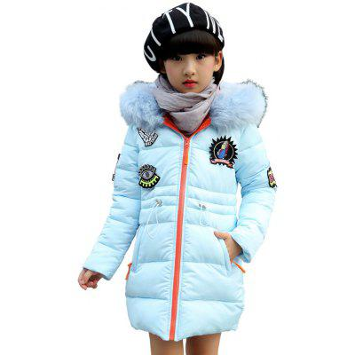 Kids Hooded Labeling Parka Coat