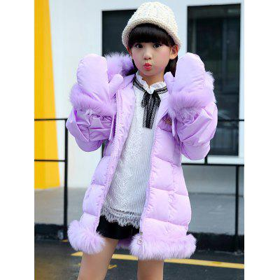 Kids Hooded Solid Color Parka Coat