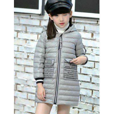 Letter Print Hooded Coat