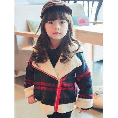 Girls Plaid Inclined Zipper Thick Wool Jacket