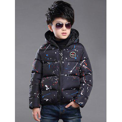 Boys Hooded Splatter Paint Puffer Jacket