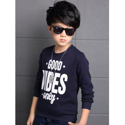 Buy PURPLISH BLUE 160 Boys Crew Neck Letter Print Pullover Sweatshirt for $7.61 in GearBest store