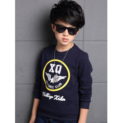 Buy PURPLISH BLUE 160 Boys Letter Print Crew Neck Pullover Sweatshirt for $7.61 in GearBest store