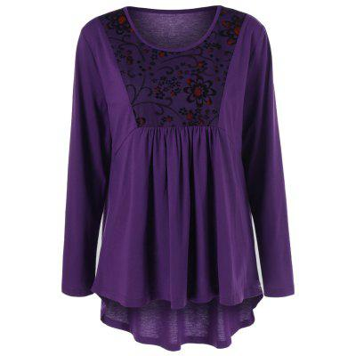 Buy PURPLE 5XL Plus Size Floral Trim High Low T-Shirt for $6.99 in GearBest store