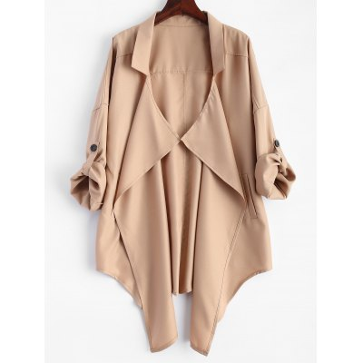 Pointed Hem Plus Size Trench Coat