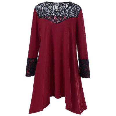 Plus Size Lace Trim asymetrisches Kleid