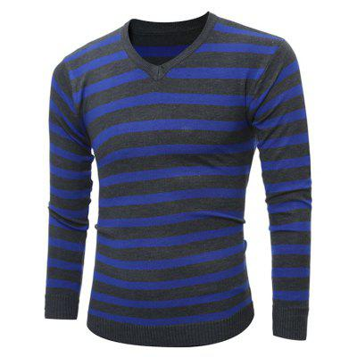 V Neck Striped Knitting Sweater