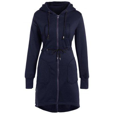 Hooded Drawstring Asymmetrical Coat