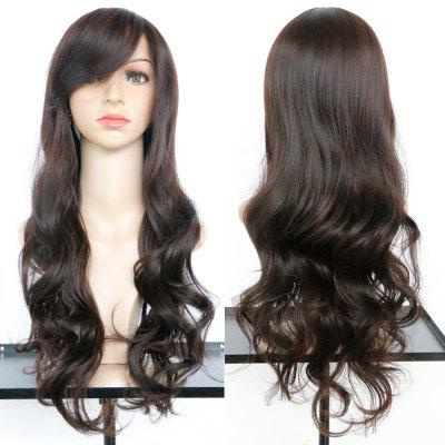 Buy DEEP BROWN Long Oblique Bang Wavy Synthetic Wig for $18.45 in GearBest store