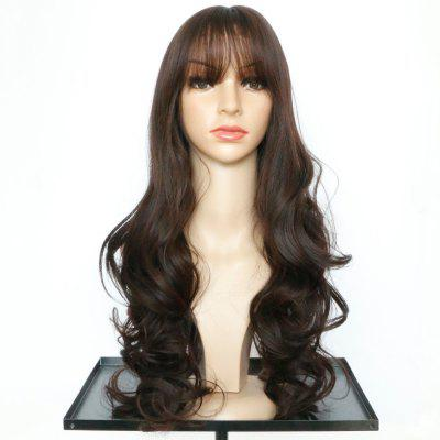Buy DEEP BROWN Long Full Bang Wavy Synthetic Wig for $15.05 in GearBest store