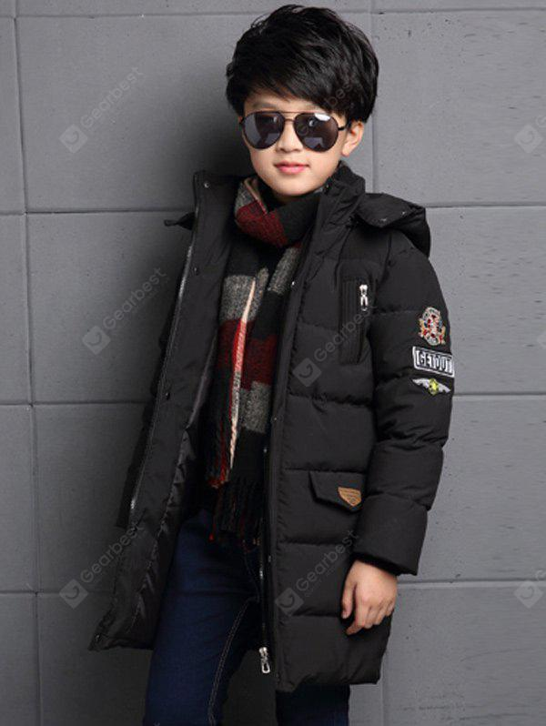Boys Hooded Labeling Long Puffer Coat