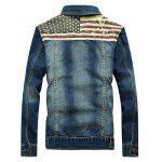 Jacket Stars and Stripes Applique emenda Projeto Denim - AZUL