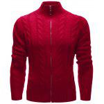 Alta collo Zip Up Twist Cardigan - ROSSO