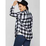 Plus Size Flannel Plaid Cotton Shirt with Pocket for sale