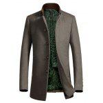 Buy Metal Button Embellished Stand Collar Woolen Coat 2XL CAMEL