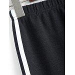 Plus Size Stretchy Striped Jogger Pants - DEEP GRAY