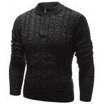 Buy Stand Collar Half Zip Cable Knit Sweater BLACK