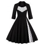 Bowknot Swing Dress Vintage Prom Dresses - BLACK