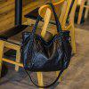 Faux Leather Weave Slouchy Handbag - BLACK
