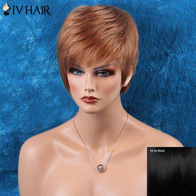 Siv Hair Side Bang Short Straight Human Hair Wig