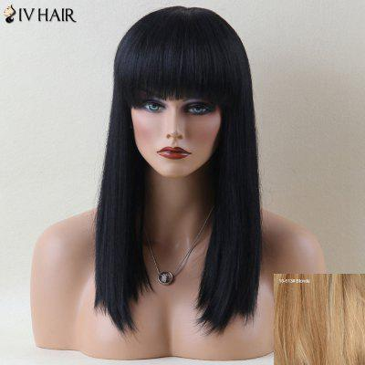 Siv Hair Long Neat Bang Shaggy Straight Human Hair Wig