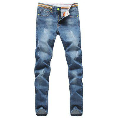 Konische Fit Striped Taille Distressed Jeans