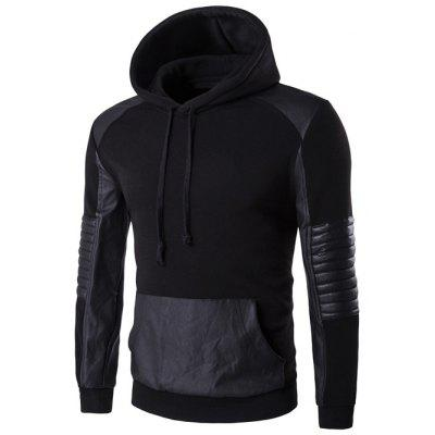Color Block PU Leather Splicing Design Black Hoodie Mens