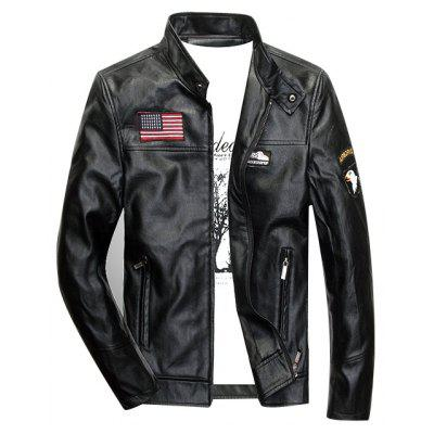 Patch Design Zippered Faux Leather Jacket