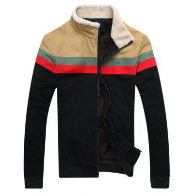 Flocking Paneled Zip Up Jacket
