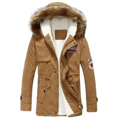 Drawstring Zip Pocket Faux Fur Hooded Flocking Jacket