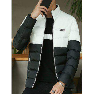 Zip Up Side Pocket Two Tone Padded Jacket