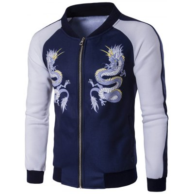 Stand Collar Zip Up Dragon Print Raglan Sleeve Jacket