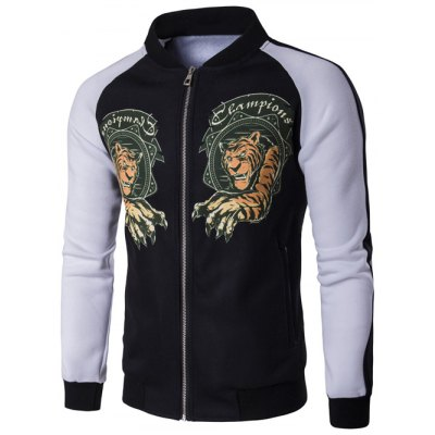 Stand Collar Zip Up Tiger Print Raglan Sleeve Jacket