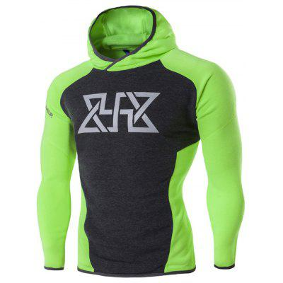 Sport Color Block Spliced Graphic Print Raglan Sleeve Hoodie