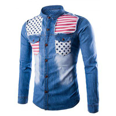 Turndown Collar Stars and Stripes Applique Pocket Denim Shirt