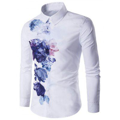 Turndown Collar Florals Wash Painting Print Long Sleeve Shirt
