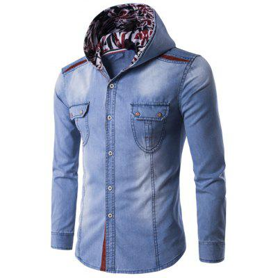 Hooded Color Block Spliced Long Sleeve Denim Shirt