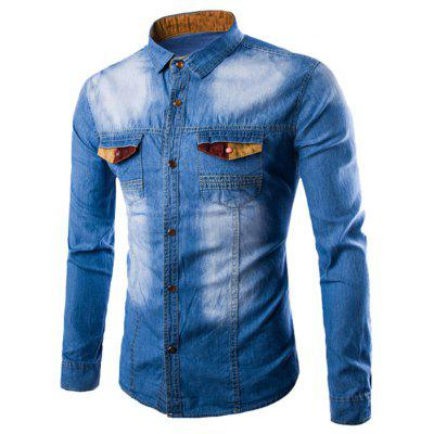 Turndown Collar Color Block Spliced Pocket Denim Shirt