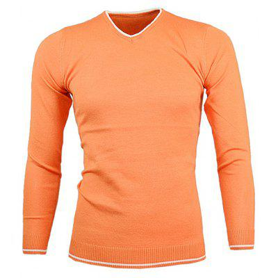 Buy ORANGE V Neck Color Block Pullover Knitwear for $16.36 in GearBest store