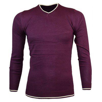 Buy DEEP PURPLE V Neck Color Block Pullover Knitwear for $16.36 in GearBest store